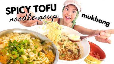 VEGAN MUKBANG: SPICY TOFU NOODLE SOUP (Sundubu Ramen) 순두부라면 먹방 / Munching Mondays Ep.77