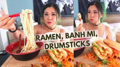 MUKBANG: RAMEN, BANH MI, BUBBLE TEA, DRUMSTICKS (VEGAN) / Munching Mondays Ep.79