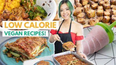 LOW CALORIE VEGAN RECIPES + MEAL PREP (Lasagna, Quinoa Bowl, Popsicles)